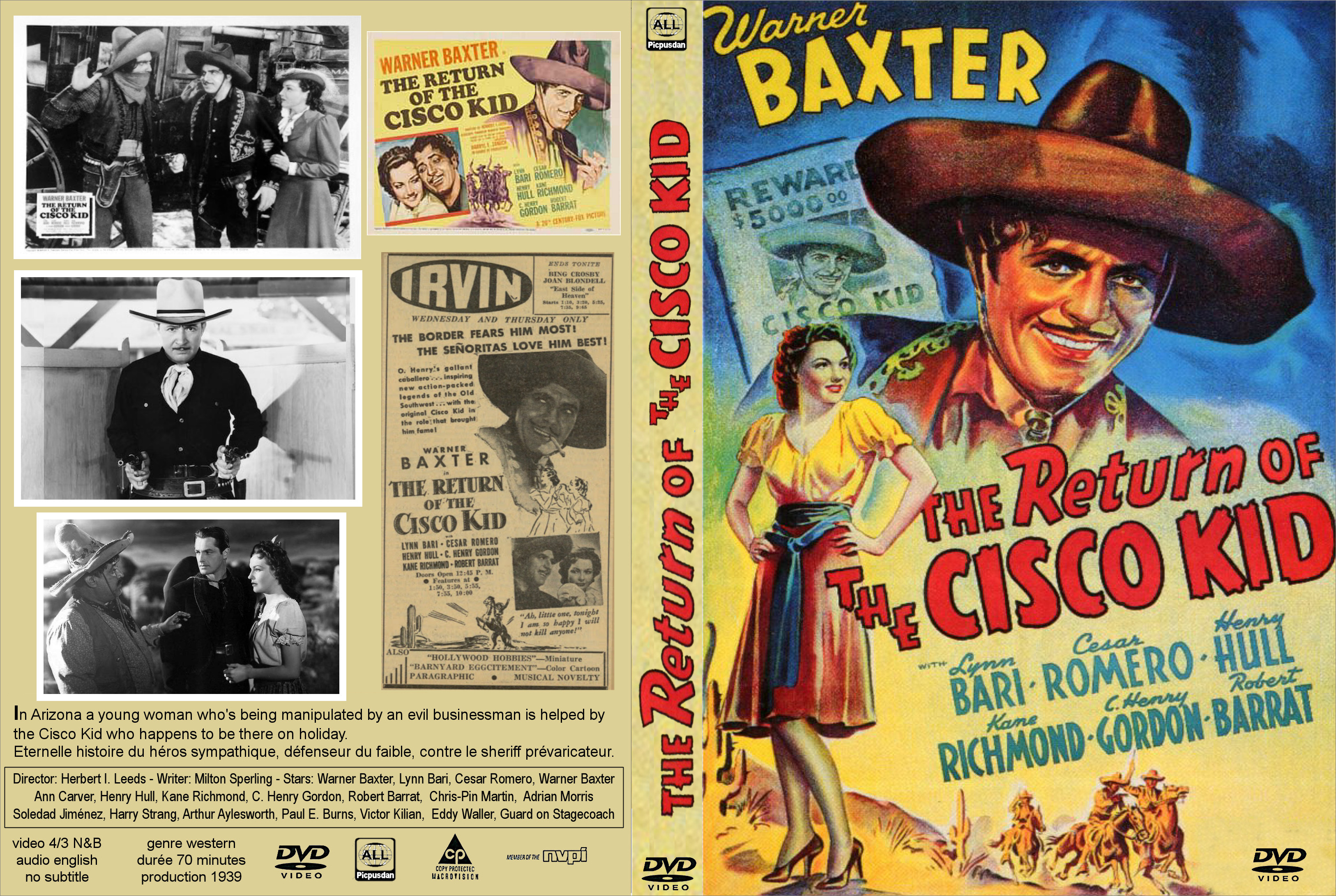 Titre Face Dos Cd Dvd THE RETURN OF CISCO KID